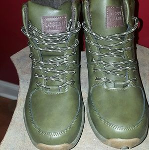 Boys Camo Green Faux Leather Boots